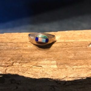 Native American Sterling Ring with Stone Inlay